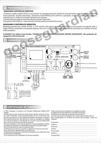 placa central motor portão eletrônico universal ipec 433mhz
