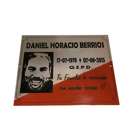 placa chapa mortuoria,cementerio, nicho, lapida,panteon 15x8