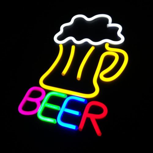 placa chope neon led para decoração cerveja gelada