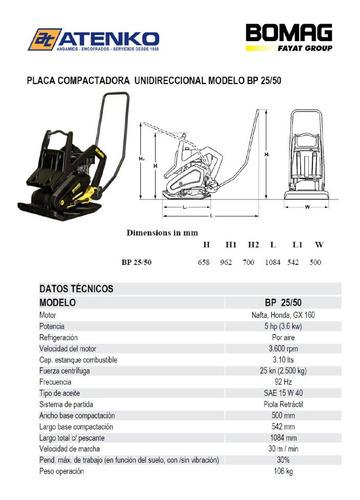 placa compactadora / placa vibradora bomag bp 25/50 100 kgs