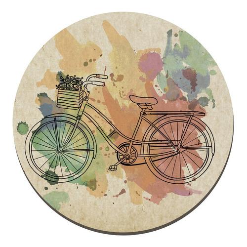 placa cuadro decorativo redondo 29cm bicicleta acuarela