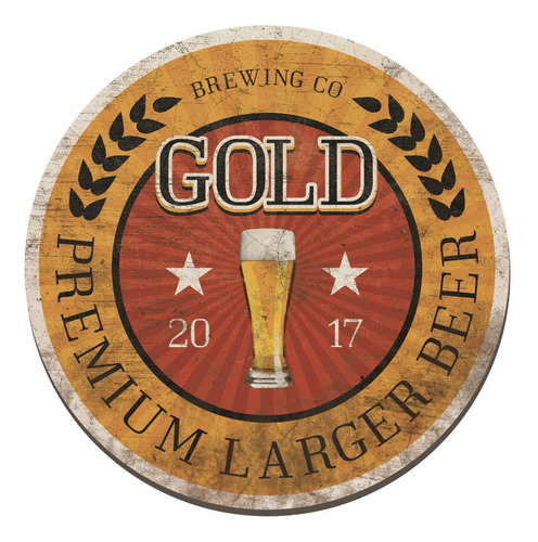 placa cuadro decorativo redondo 29cm cerveza rubia