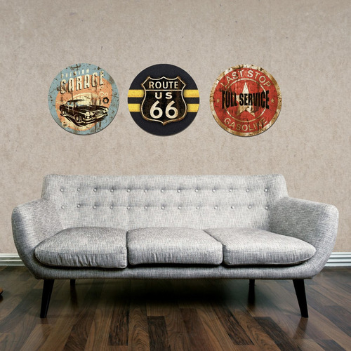 placa cuadro decorativo redondo 29cm preimum garage