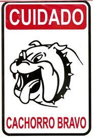 placa cuidado cachorro bravo sinalização em pvc promoção