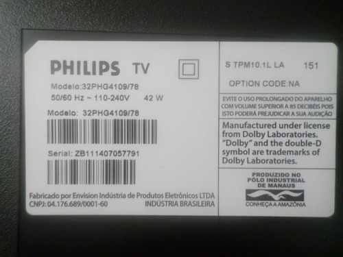 placa da fonte tv philips 32phg4109/78  ***