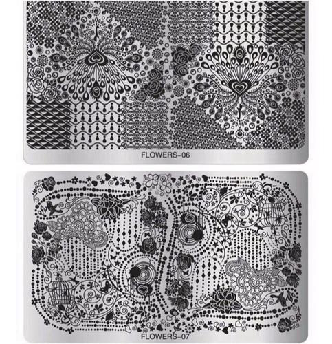 placa de acero stencil uñas diseño decoración esmalte sello