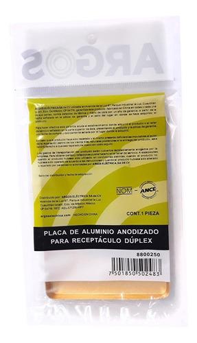 placa de aluminio anodizado para receptáculo dúplex - argos