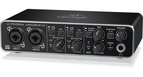 placa de audio behringer umc204 hd audiophile 2x4