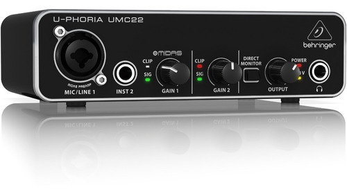 placa de audio behringer umc22 grabacion interfaz usb asio