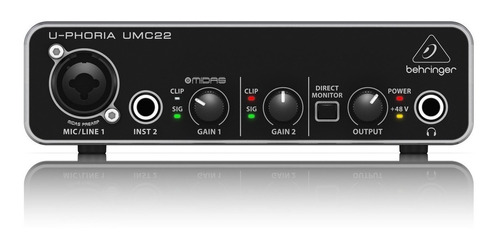 placa de audio behringer umc22 grabacion interfaz usb asio garantia oficial
