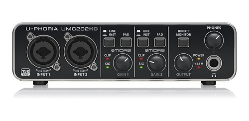 placa de audio grabacion behringer umc202 hd