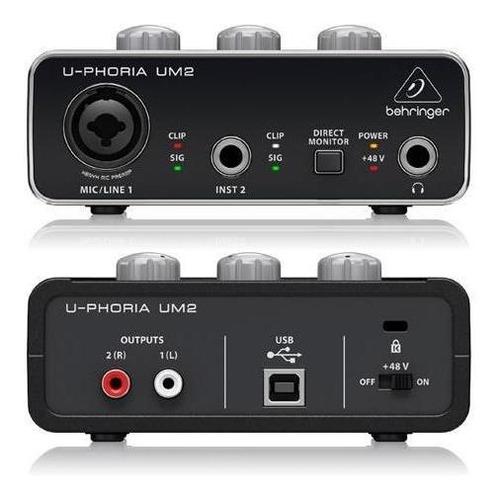 placa de audio interface usb behringer um2 - 2 canales