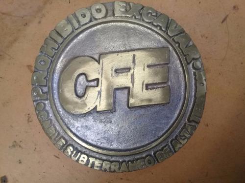 placa de bronce /aluminio prohibido excavar cfe alta tension