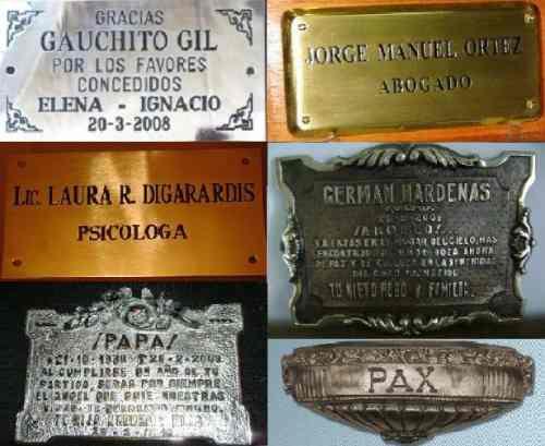 placa de bronce grabada chapa arte funerario cementerio