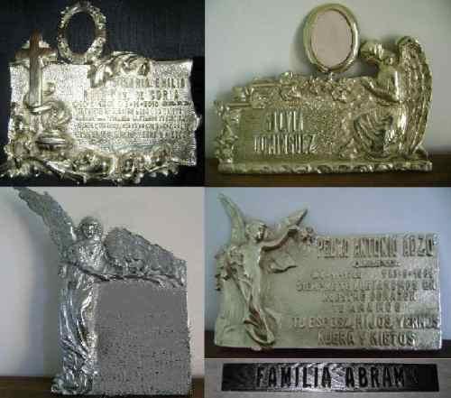 placa de bronce grabado chapa homenaje arte funerario foto