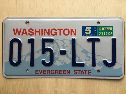 placa de carro americano - washington - usa - original