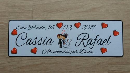 placa de carro casamento personalizada