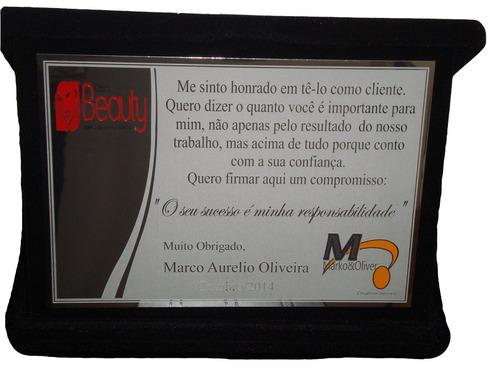 placa de homenagem em aço com estojo de veludo - 13x10