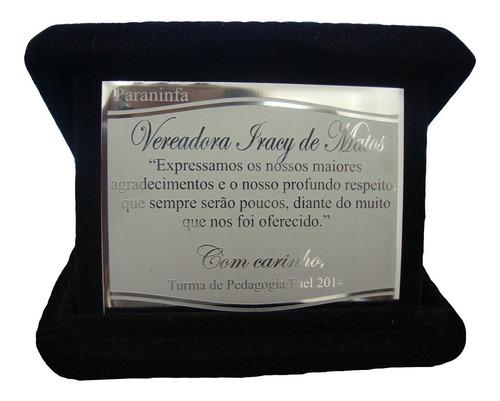 placa de homenagem em aço inox com estojo de veludo - 17x13