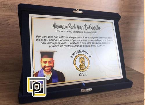placa de homenagem formatura