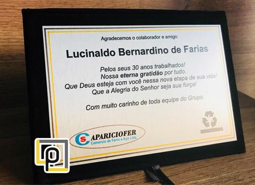 placa de homenagem personalizada