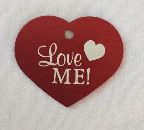 placa de identificación corazón gde c diseño p mascotas