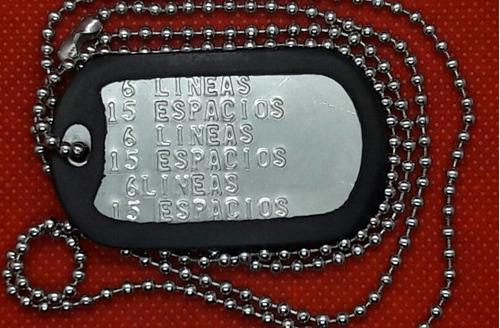 placa de identificacion militar (2) dog tag + envio gratis