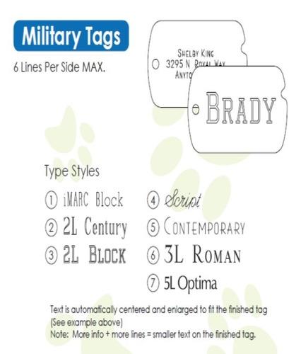 placa de identificacion tipo militar