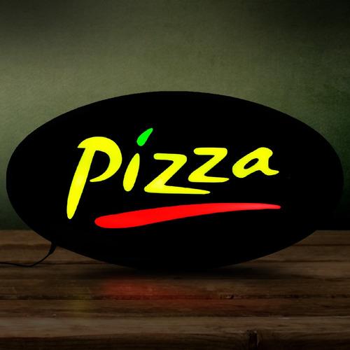 placa de led letreiro luminoso efeito neon pizza