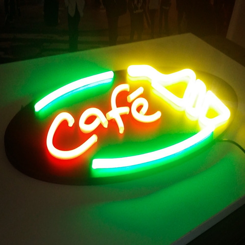 placa de led neon flex café letreiro luminoso cafeteria