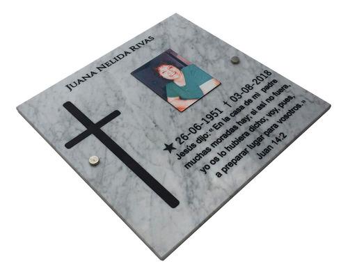 placa de marmol 25x15 grabada recordatoria + foto color 6x6.