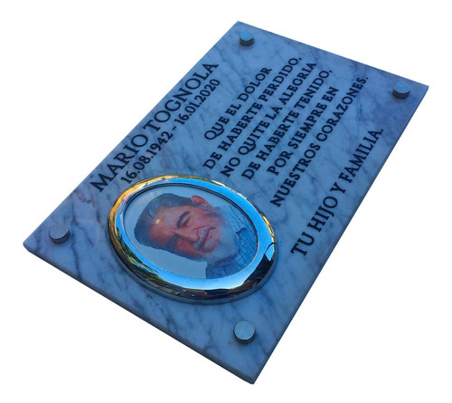 placa de mármol grabada 40x30cm. con foto y marco incluido.