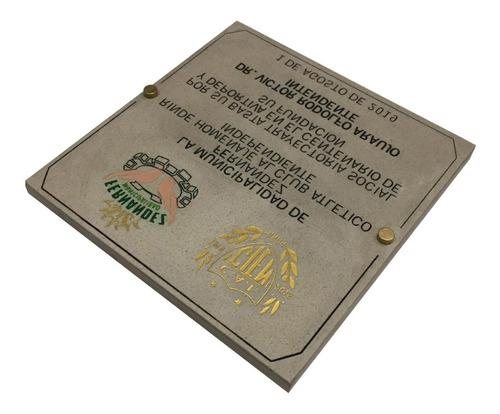 placa de mármol grabada, homenaje, inauguración 25x15 cm.
