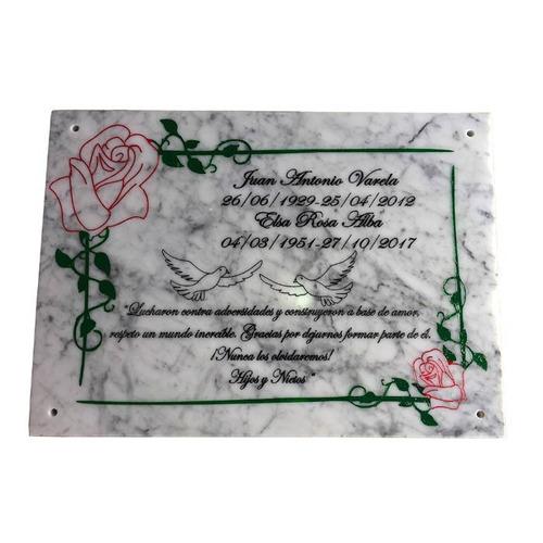 placa de marmol para cementerio, nicho, lapida. 60x50cm.