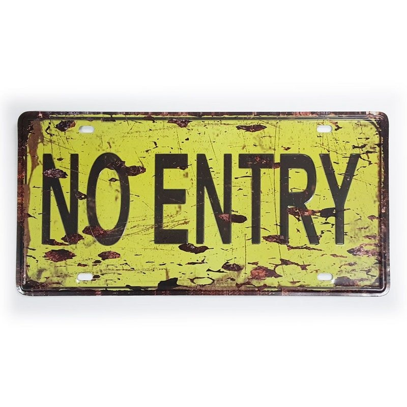 placa de metal decorativa não entre no entry 30 x 15 cm r 25