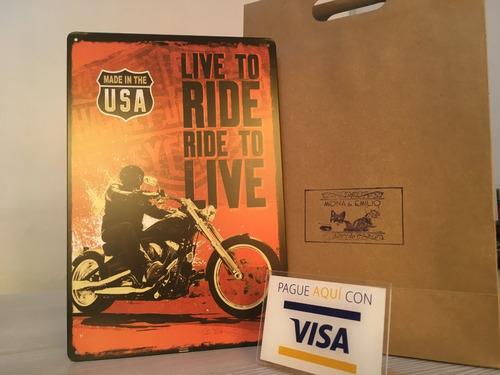 placa de metal tipo vintage motocicletas moto regalo