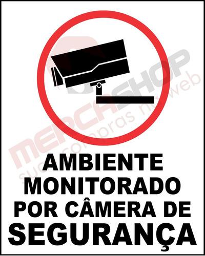 placa de monitoramento por câmera de segurança 40cm x 50cm