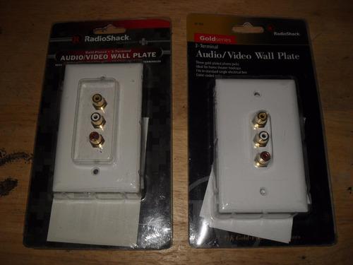 placa de pared  rca hembra audio video radioshack gold serie