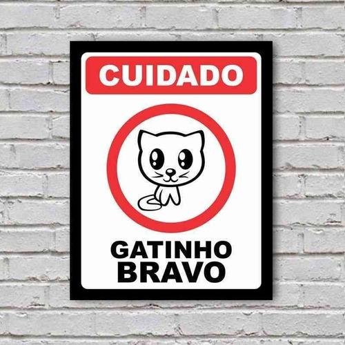 placa de parede decorativa cuidado gatinho bravo rcr games