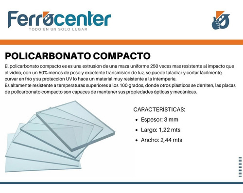 placa de policarbonato compacto 3mm 1,22 x 2,44mts - oferta!