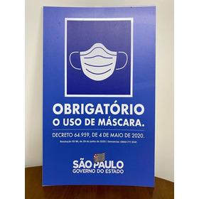 Placa De Ps Use Máscaras Decreto N° 64.959- 25x40cm P Entreg