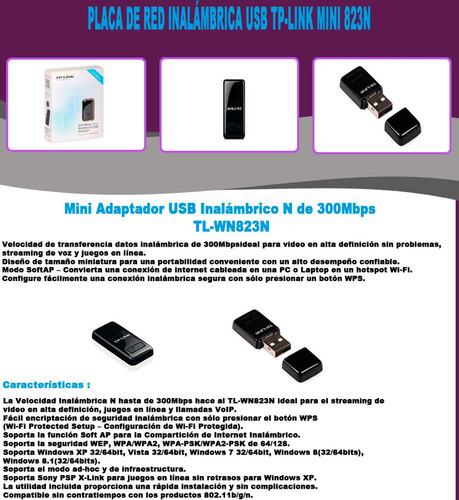 placa de red 823n inalámbrica tp-link usb mini tl-wn823n