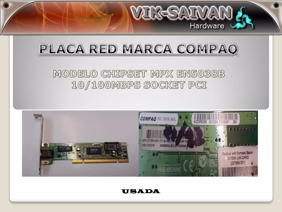 COMPAQ MPX EN5038B NETWORK ADAPTER WINDOWS 7 X64 DRIVER