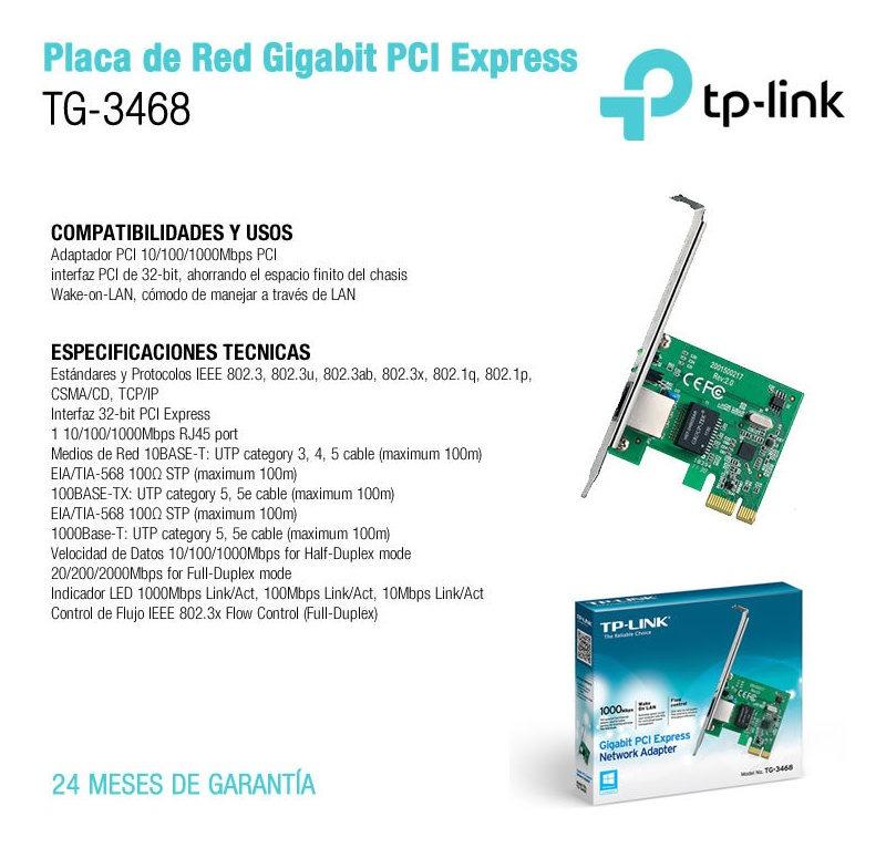 control de flujo 802.3x, Wake-on-LAN, 32 bits, RJ45 TP-Link TG-3468 Adaptador de red Gigabit PCI Express