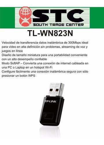 placa de red usb mini inalámbrica tp-link tl-wn823n 300mbps