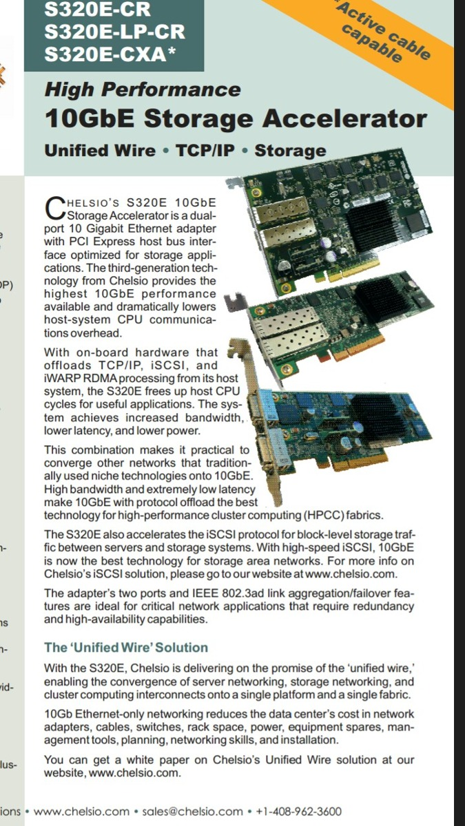 Drivers: Chelsio S320E-CR Adapter Unified Wire