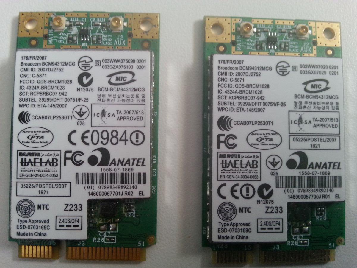 Placa De Rede Wifi Broadcom Bcm94312mcg Diversos Notebooks