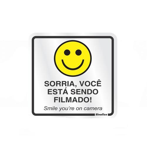 placa de sinalização em alumínio sorria - sinalize