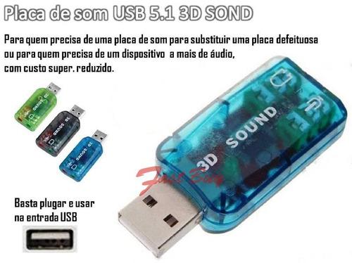 placa de som 5.1 usb 3d adaptador audio virtual dj ps3