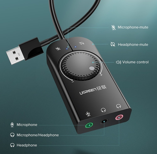 placa de som externa adaptador de microfone de áudio usb